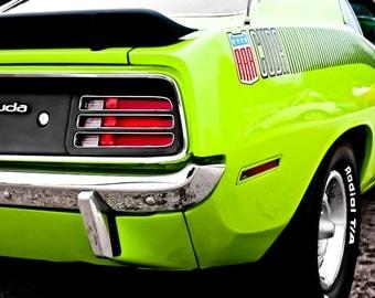 1972 Green Plymouth Barracuda Car Fine Art Print- Car Art, Antique Car, Home Decor, Nursery Decor, Wall Art, Vintage Car