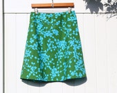 Land and Sea Simple A Line Skirt, Coriander in Sea Green Skirt, A Line Skirt, Sea Green Skirt, Hip sizes women's 30-56 inches