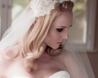 Bridal Wedding Veil Chantilly Lace Juliet Bridal Cap, Ivory, Champagne, Fingertip, Cathedral, Waltz, Chapel, style 1210