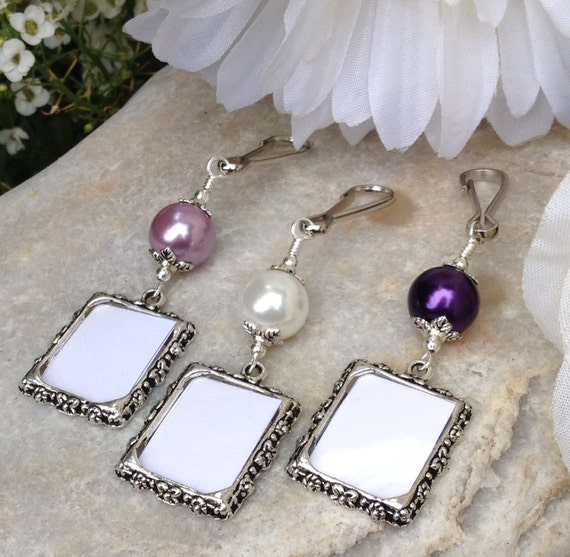 bridal bouquet photo charm wedding memorial photo charm with purple