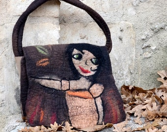 Felt Handbag Hand felted Felt purse unique Nunofelt womens felted bag Artistic purse french handbag fiber art Boho