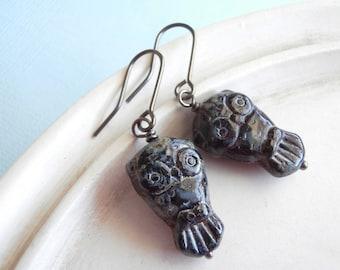 Czech Glass Owl Earrings - Night Owl