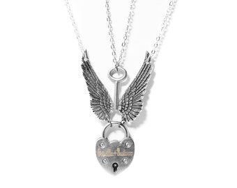 Padlock Necklace - Angel Wing Necklace - Ddlg Collar - Engraved Padlock - Heart Necklace - Bdsm Jewelry - Bdsm Collar - Engraved Necklace