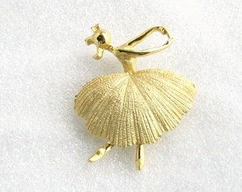 Golden Ballet Dancer Brooch Vintage Figural Textured Goldtone Pin