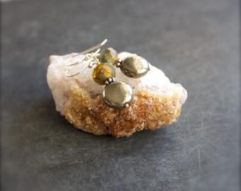Pyrite Gemstone Dangle Drop Earrings Grey Green Amber Topaz Rustic Glass Sterling Silver Jewelry