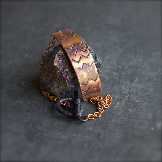 Rustic Purple Patina Bar Chain Bracelet Chevron Stamped Copper Metalwork Tribal Jewelry