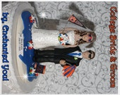 College theme Wedding Cake Topper, Personalised, Custom,