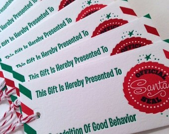 8 Pack Official Santa gift tags for Christmas gifts