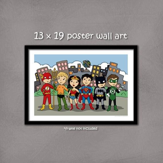 Superhero Justice League art print, 13x19 print, Superman, Wonder Woman, Green Lantern, Flash, Aquaman, Batman
