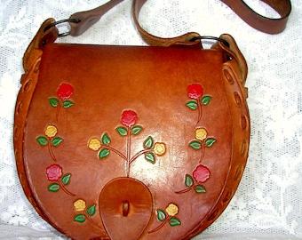 Hippie-Chic.. Fabulous, Vintage, Hippie, Boho-Chic, Hand Tooled Leathe,r Handbag