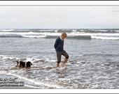 Robert F. Kennedy, BOBBY In SURF, Oregon Coast, May 24, 1968, Clyde Keller Photo, large 16x20 inch Fine Art Print, Color, Signed, Treasury