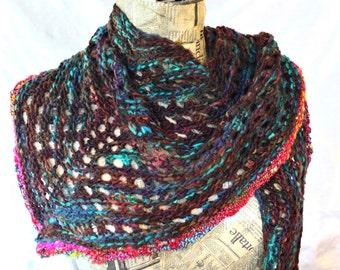 Mahogany Shawl, Merino Hand Knitted/ Wearable Art Triangle Shawl