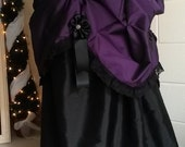Steampunk Skirt, Parlour Bustle Skirt, Black Lace and Ribbon Trim, Customisable, Made to order