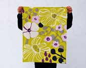 Spring Marimekko Baby BLANKET with Organic Flannel - Mint and Orchid Purple Flowers - Eco Friendly Baby Blanket Bedding (Ready to Ship)