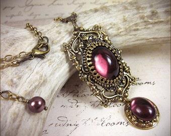 Medieval Necklace, Amethyst Jewel, Purple, Renaissance Costume, Tudor Garb, Ren Faire, Queen, Borgias, Victorian Pendant, Faire, GothCath