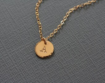Dainty Single Initial Necklace - Personalized Hand Stamped Jewelry Bridesmaid Gift