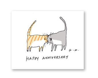 Happy Anniversary Card- Cat Card
