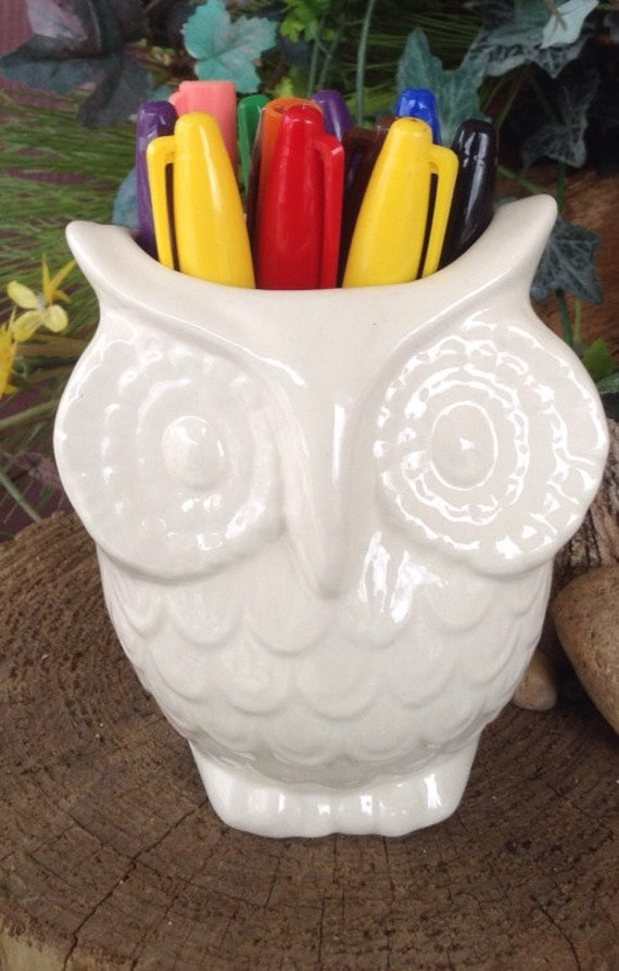 White Ceramic Owl Planter Vintage Design Vase Hoots For