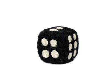 Single Die Handmade Felted Black Wool Dice Soft Sculpture Gift For Gamer Game Lover Quiet Dice - CUSTOM ORDER