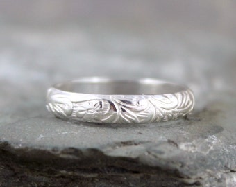 Floral Pattern Sterling Silver Band - Wedding Bands - Stacking Ring - Nature Inspired Rings - Commitment Rings - Made in Canada