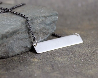 Sterling Silver Bar Necklace - Textured Bar Pendant - Matte Finish - Adjustable Necklace - Rustic Jewellery Made in Canada