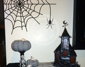Halloween Spider Web vinyl lettering wall decal sticker home decor art haunted