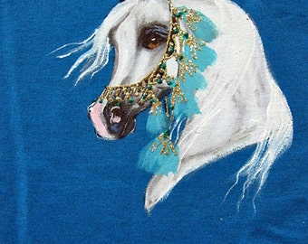 Hand Painted Arabian horse ART Sweatshirt size L
