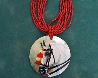 Andalusian horse hand painted Mother of pearl necklace in halter