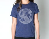 Blue Full Moon Shirt - short sleeve length cute hip tee, matte blue-grey ink screenprint, unisex gift, awesome clothes for kids