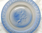 Vintage Baby Dish - Blue Glass - Little Bo Peep - ABC Alphabet Numbers - Sheep Child Plate Bowl - Mid Century Retro Country Home Decor
