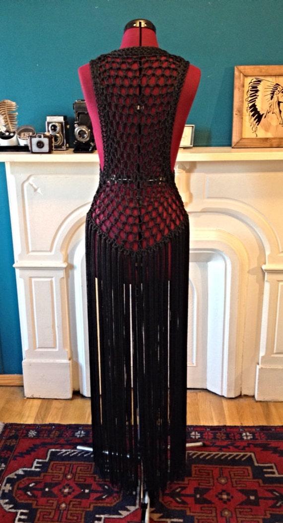Vintage Goth Hippie Gypsy Witchy Boho Festival Black Crochet