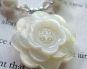 Pretty as a Button - OOAK Set of Necklace and Earrings, Made in Vintage Cream, Light Bronze, and Silver