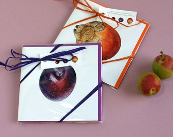 Fruit Cards-Persimmon,Plum and Cherry prints-Note lets set-Botanical Fruit Illustrations-gift for friend-gift for aunt-gift for fruit lover