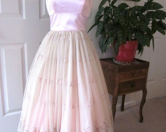 Ladies Special Occasion Dress Pink Lace Princess Fairy Tale Wedding Junior Bridesmaid Beige Netting Pink Satin Tea Length OOAK Size Small