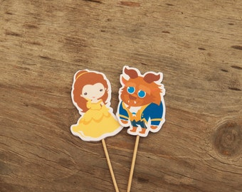 Belle & Friends Party - Set of 12 Beauty and Beast Double Sided Assorted Cupcake Toppers by The Birthday House