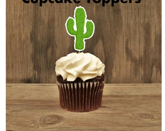 Cowgirl Birthday Party - Set of 12 Cactus Cupcake Toppers by The Birthday House