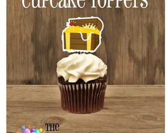 Yo Ho Pirate Party - Set of 12 Treasure Chest Cupcake Toppers by The Birthday House