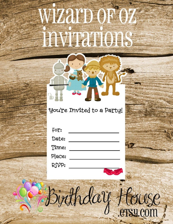 Oz Friends Party - Set of 8 Oz Invitations by The Birthday House