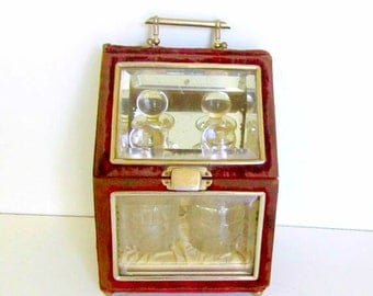 Victorian Dresser Box with Etched Glass Perfume Bottles Velvet and Beveled Glass Box