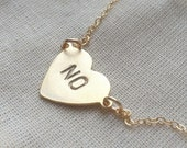 Stamped heart necklace, no heart necklace on thin gold filled chain
