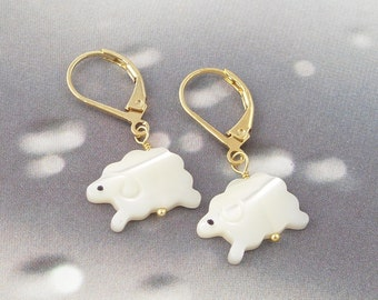 White sheep earrings - mother of pearl lamb, 14k gold-plated lever back earrings - free shipping USA