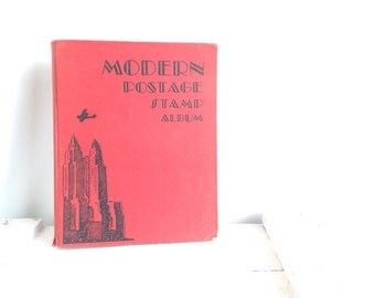Antique 1930's stamp collector book Art Deco