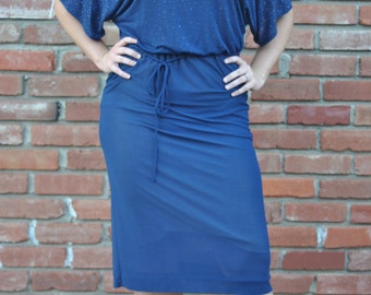 1970s French Vintage Semi-Formal navy blue dress women's