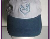 Embroidered Cap Deer Doe Buck Heart Outline White w Light Blue Bill Cotton Hat Baseball Cap
