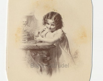 1860s - 1870s Antique CDV Photograph. Young Girl with Jam or Makeup