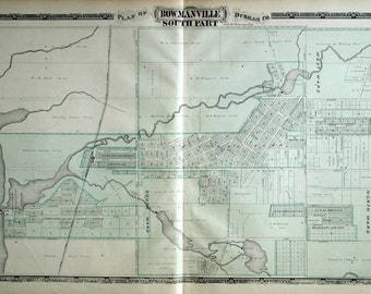 1878 Large Rare Vintage of South Bowmanville, Ontario, Canada - Handcolored
