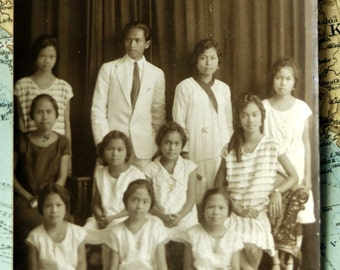 1930s Vintage Photograph. Philippines - Group Portrait in Tarlac. No Smiling, Please.