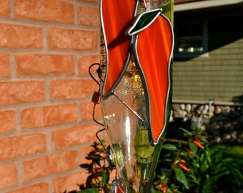 Red Chili Peppers Hummingbird Feeder from Recycled Sidral Mundet Bottle