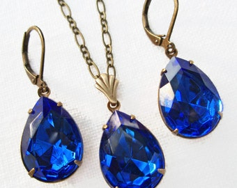 Sapphire Blue Crystal Pendant Necklace SET Earrings Gifts Under 50 Victorian Jewelry Downton Abbey CAMBRIDGE Sapphire