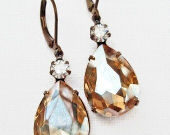Gifts Under 20 - BlackTie Jewelry - Champagne - Crystal Earrings - MAYFAIR Golden Champagne
